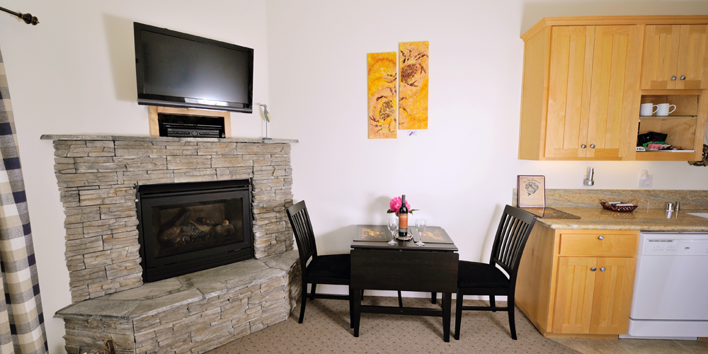 Satellite HDTV and gas fireplace...